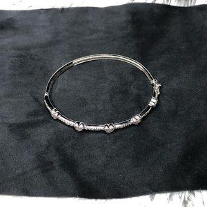 Sterling Silver Heart Bracelet W/ Diamond Accents
